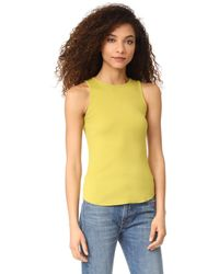 Vince - Yellow High Neck Tank - Lyst
