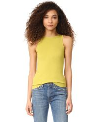Vince | Yellow High Neck Tank | Lyst