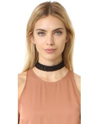 Vanessa Mooney - Black Leather Lace Choker Necklace - Lyst