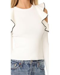 Whistles - White Tipped Detail Cold Shoulder Top - Lyst