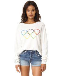 Wildfox - Black Olympic Hearts Cropped Sweatshirt - Lyst