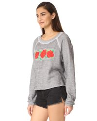 Wildfox - Gray Three Rose Embroidered Sweatshirt - Lyst