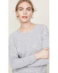 David Lerner - Gray Distressed Raglan Sweatshirt - Lyst