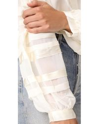 Love Sam - White Bias Strip Full Sleeve Blouse - Lyst