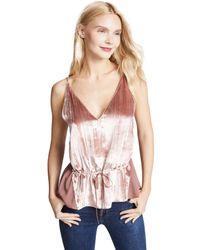 J Brand - Pink Lucy Peplum Velvet Camisole - Lyst