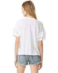 Current/Elliott - White Ruffle Roadie Tee - Lyst
