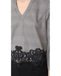 Moon River | Black Houndstooth Lace Belle Blouse | Lyst