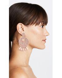 Kenneth Jay Lane - Pink Round Gypsy Hoop Earrings - Lyst