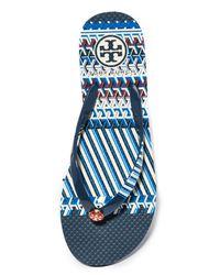Tory Burch - Blue Printed Thin Flip Flops - Lyst