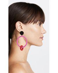 Oscar de la Renta - Pink Two Tone Beaded Double Hoop Clip On Earrings - Lyst