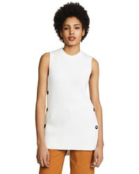 Jason Wu - White Sleeveless Crew Neck Sweater With Button Detail - Lyst