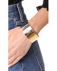 Tory Burch - Metallic Wide Puzzle Cuff Bracelet - Lyst