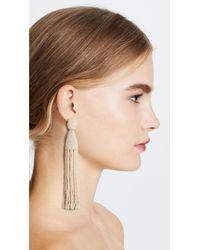 Oscar de la Renta - White Tassel Earrings - Lyst