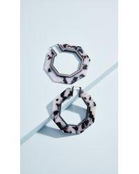 Rebecca Minkoff - Blue Octagon Resin Hoop Earrings - Lyst
