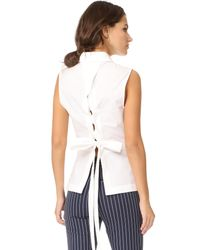 10 Crosby Derek Lam - White Sleeveless Shirt With Lace Up Back - Lyst