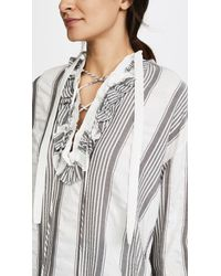 TOME - Gray Ruffle Peasant Blouse With Lacing - Lyst