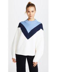 Tory Sport | Blue Chevron Mock Neck Sweater | Lyst