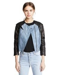 Yigal Azrouël Blue Cropped Jacket With Seaming