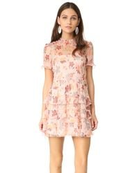 RED Valentino - Pink Collared Ruffle Dress - Lyst