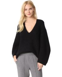 T By Alexander Wang | Black Chunky V Neck Sweater | Lyst
