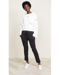 Pam & Gela - White Cropped Hoodie With Embroidered Stars - Lyst