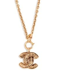 What Goes Around Comes Around - Metallic Chanel Quilted Large Cc Necklace - Lyst