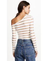 Yigal Azrouël - White One Shoulder Sheer Stripe Knit Top - Lyst