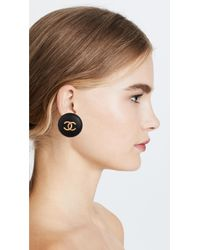 What Goes Around Comes Around - Multicolor Chanel Cc Round Earrings - Lyst