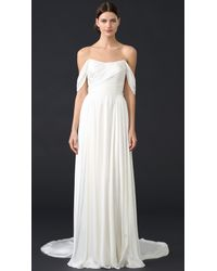 THEIA - White Delphine Off Shoulder Gown - Lyst