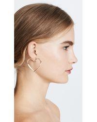 Shashi - Metallic Heart Hoop Earrings - Lyst