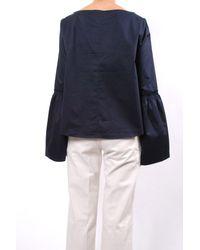 Tibi - Blue Satin Poplin Bell Sleeve Top - Lyst