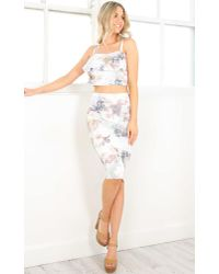 Showpo | Pink Thyme Two Piece Set In Light Blue Floral | Lyst