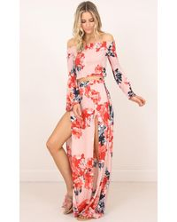Showpo - Let Me Know Two Piece Set In Pink Floral - Lyst