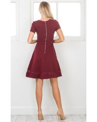 Showpo - Red Take Note Dress In Wine - Lyst