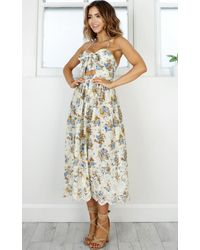 Showpo - Natural Reach For The Sky Dress In Beige Floral - Lyst