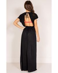 Showpo | To The Moon Beach Dress In Black | Lyst