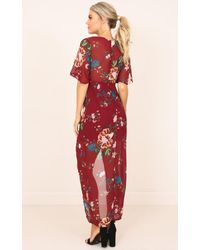 Showpo - Red Carry You Dress In Wine Floral - Lyst