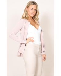 Showpo - Pink At The Top Knit Blazer In Blush - Lyst