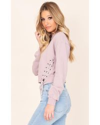 Showpo - Purple City Of Angels Sweater In Mauve - Lyst