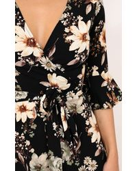 Showpo - What Else Is New Playsuit In Black Floral - Lyst