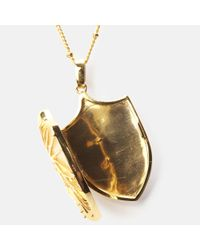 Harlot & Bones - Metallic Shield Locket Pendant Necklace - Lyst