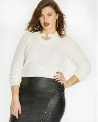 Simply Be - Black Pu Stud Trim Pencil Skirt - Lyst