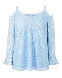 Simply Be - Blue Lovedrobe Cold Shoulder Lace Top - Lyst
