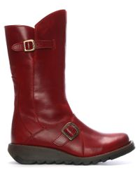 Fly London - Red Leather Low Wedge Calf Boots - Lyst