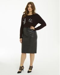 467fa44be73a Lyst - Simply Be Oasis Faux Leather Pencil Skirt in Black