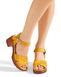 Simply Be - Yellow Liza Cross Strap Sandals Wide Fit - Lyst