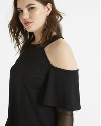 Simply Be - Black Pink Clove Cold Shoulder Top With Mesh Sleeve Detail - Lyst