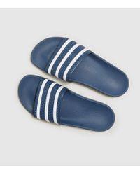 Adidas Originals   Blue Adilette Slides Women's   Lyst