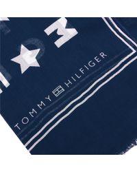 Tommy Hilfiger - Blue Logo Story Scarf - Lyst