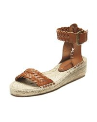 Soludos | Brown Woven Leather Demi Wedge Sandal | Lyst
